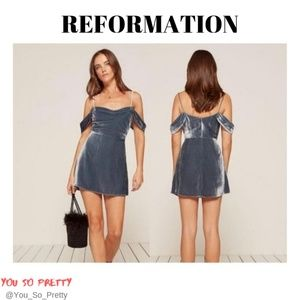 REFORMATION Blue Velvet Lorraine Dress Size 10
